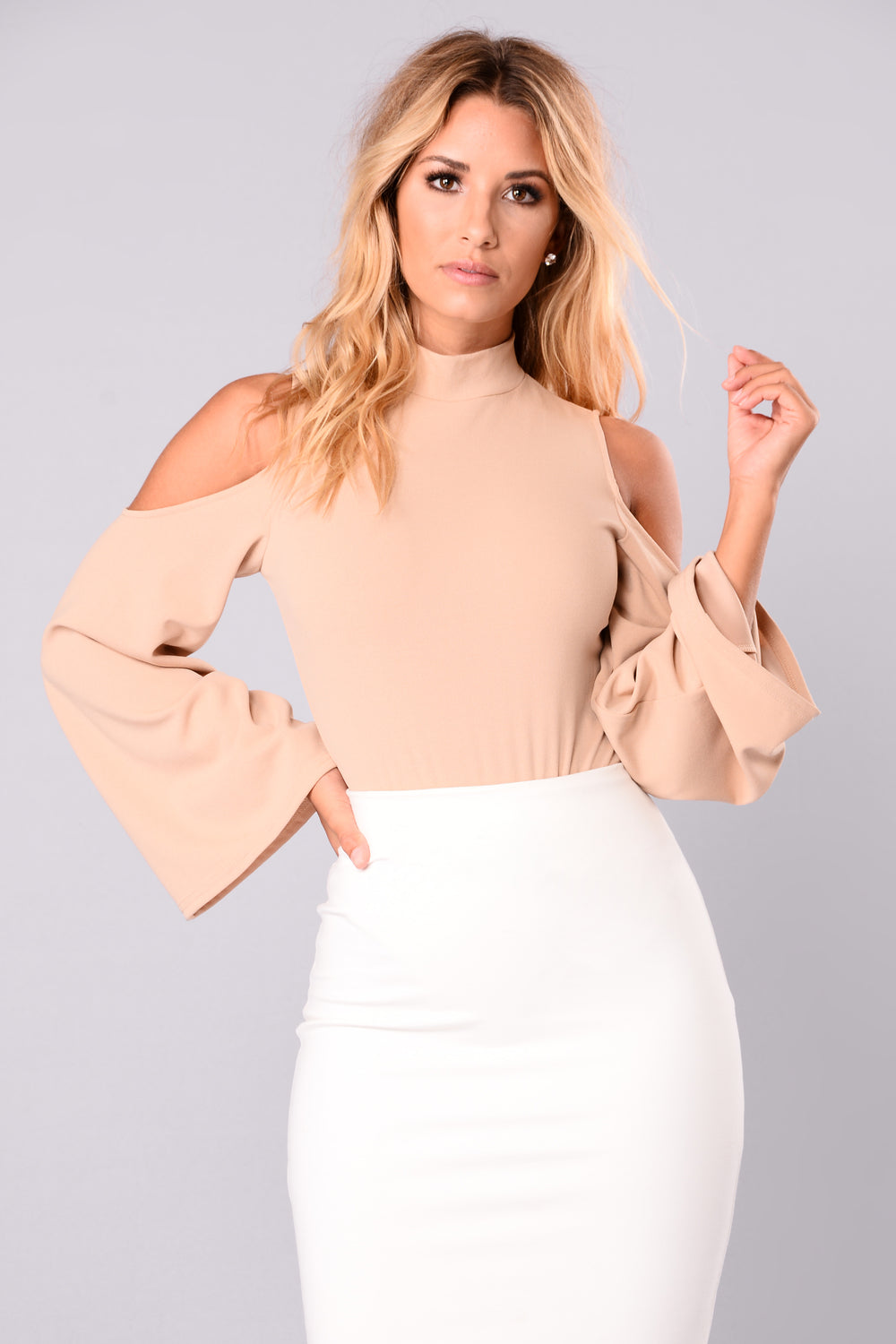 Erin Cold Shoulder Bell Sleeves Bodysuit - Nude