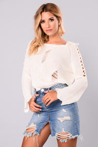 Daniella Lace Up Sweater - Ivory