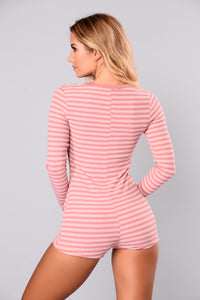 Hot Line Striped Romper - Dusty Rose