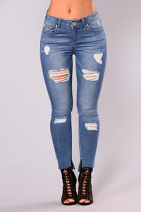 Saved By The Bell Skinny Jeans - Medium Blue Wash