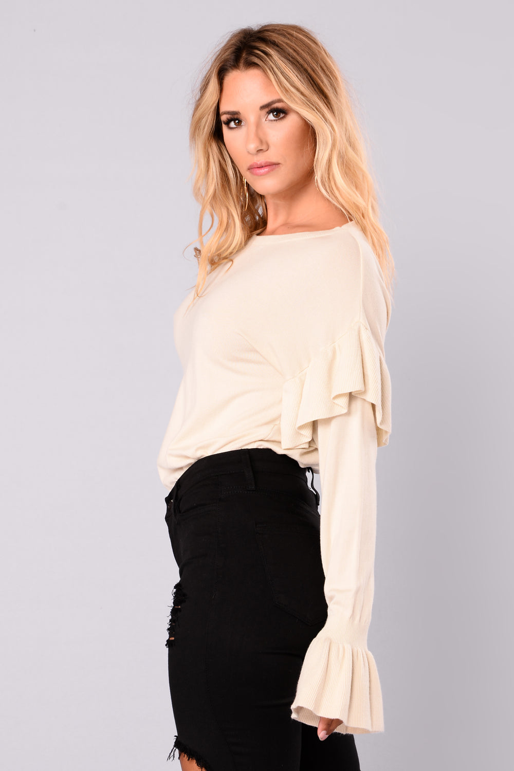 Triple Threat Ruffle Sweater - Ivory