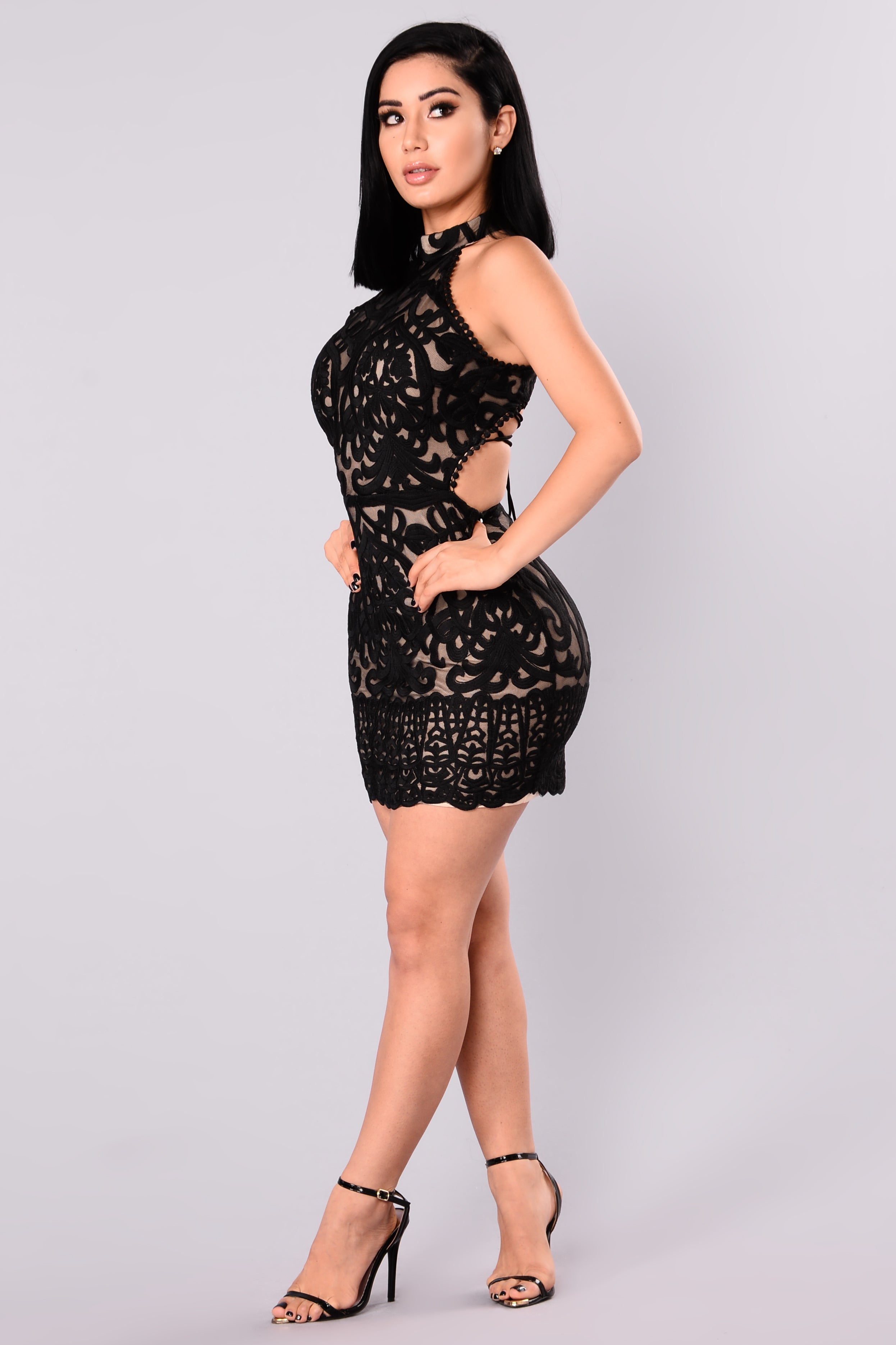 Lucy Lace Dress - Blacknude-7213