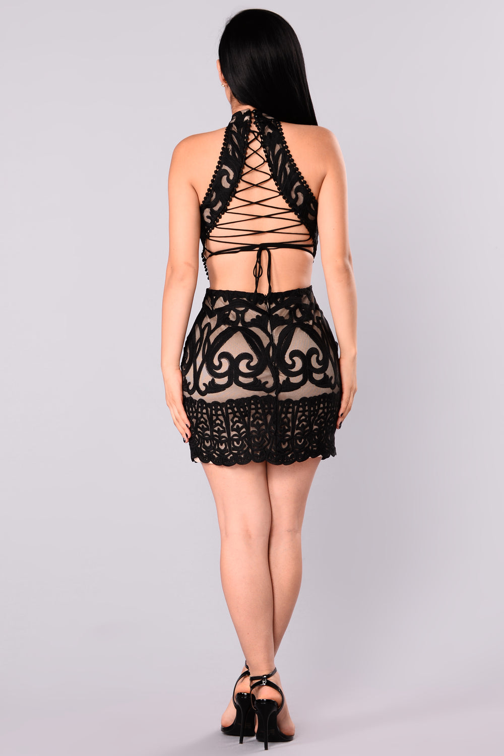 Lucy Lace Dress - Black/Nude