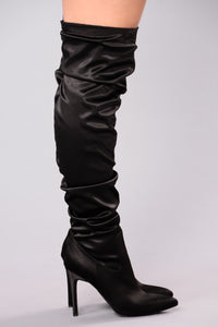 Sabrina Satin Heel Boot - Black