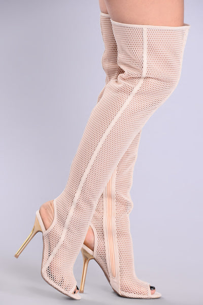 OTK Tallest Honeycomb Boot - Nude