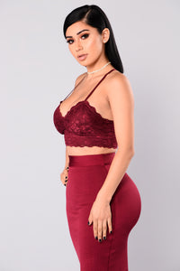 Under Your Spell Lace Bralette - Wine