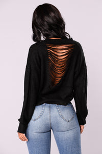 Ophelia Distressed Sweater - Black