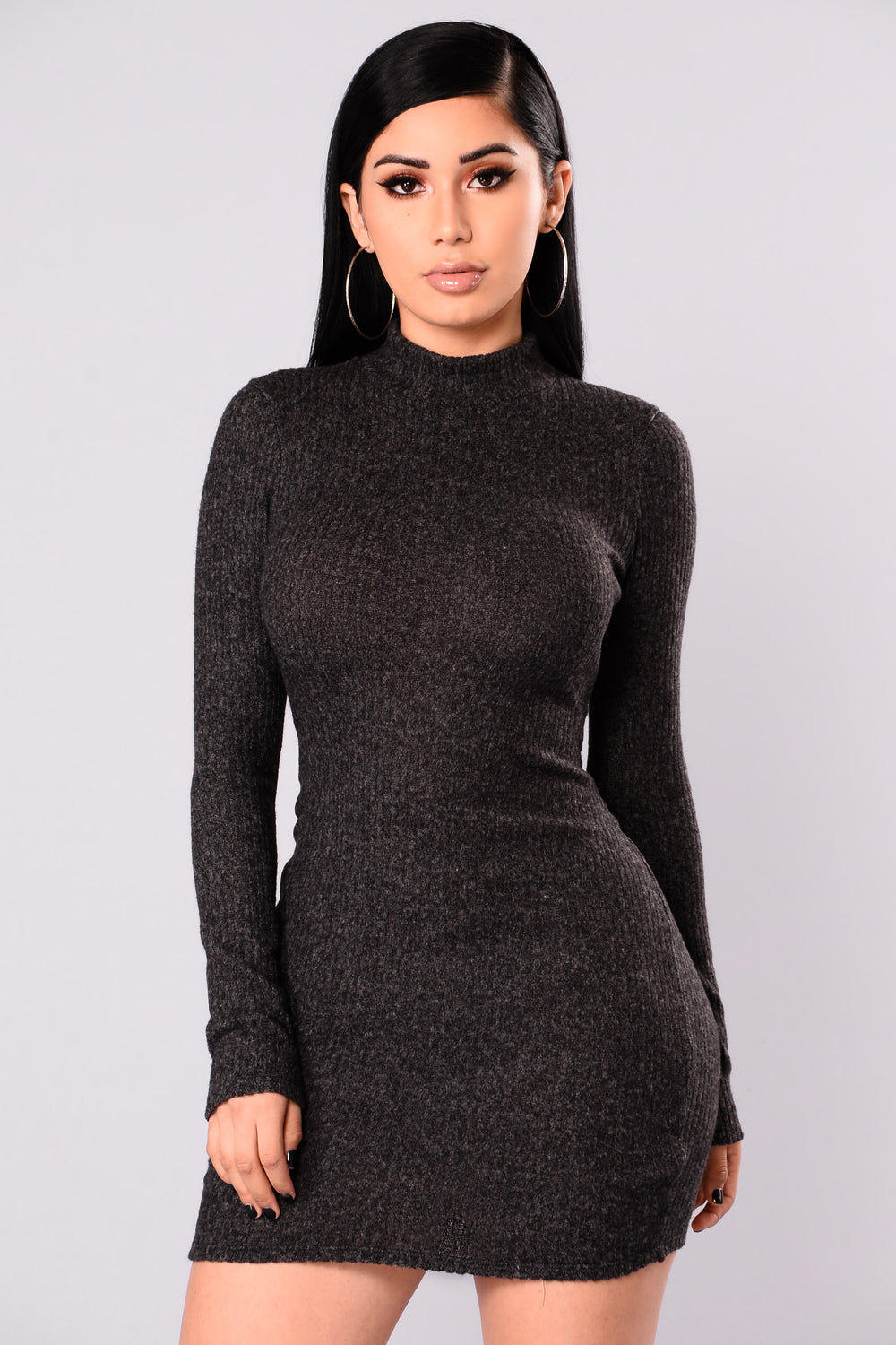 soft side sweater dress  charcoal