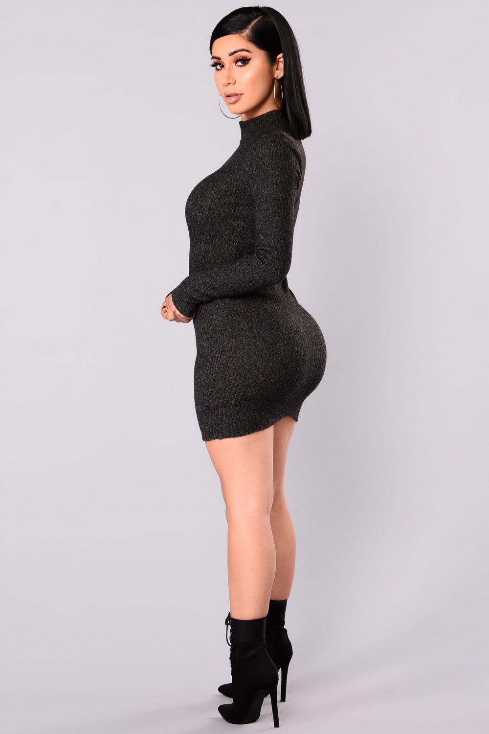 Soft Side Sweater Dress - Charcoal