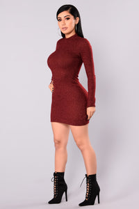 Soft Side Sweater Dress - Burgundy