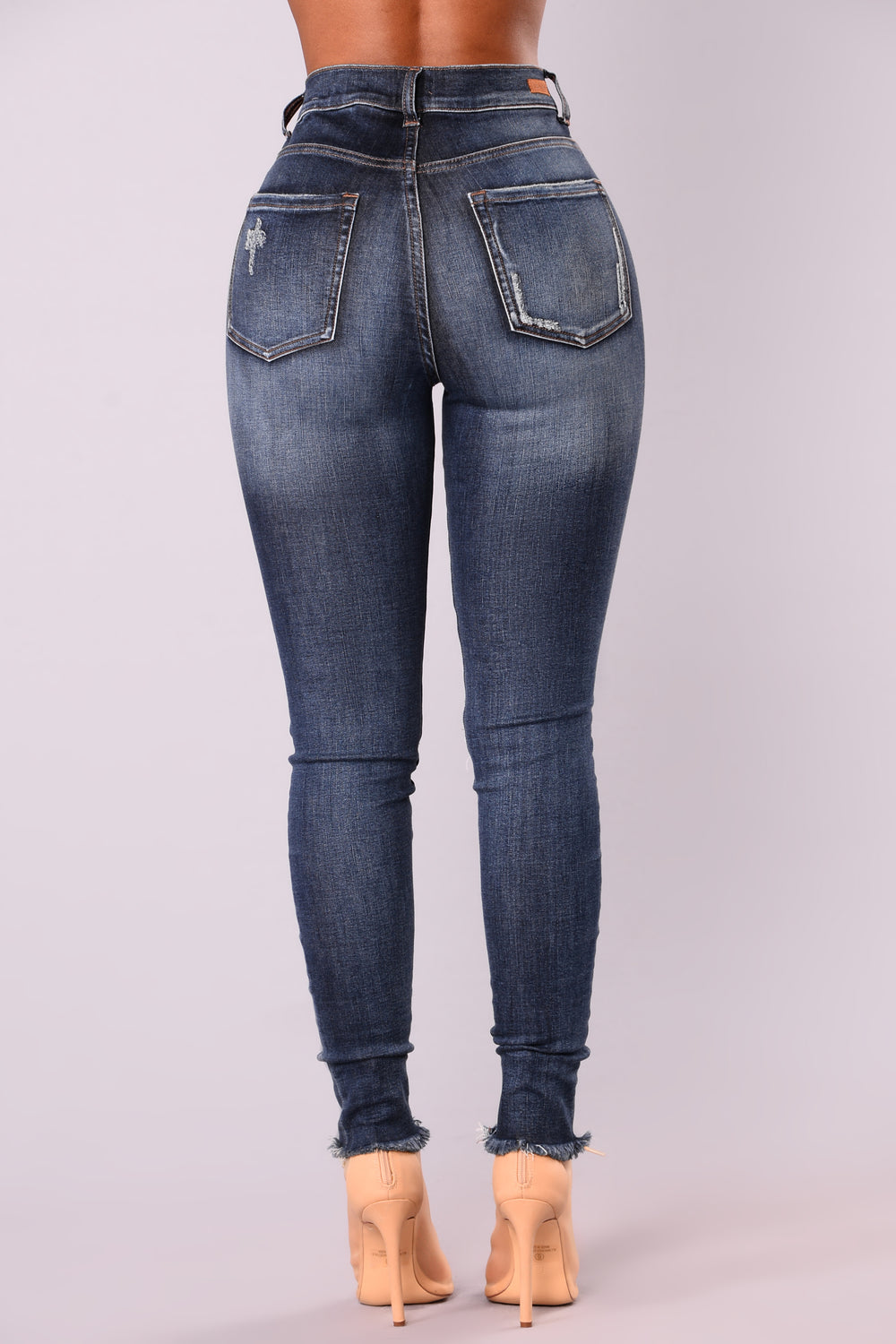 Smiley High Rise Distress Jeans - Dark Denim
