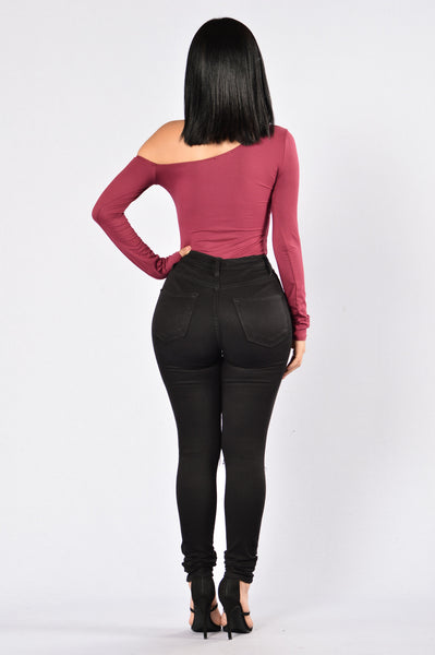 Get In Line Bodysuit - Burgundy