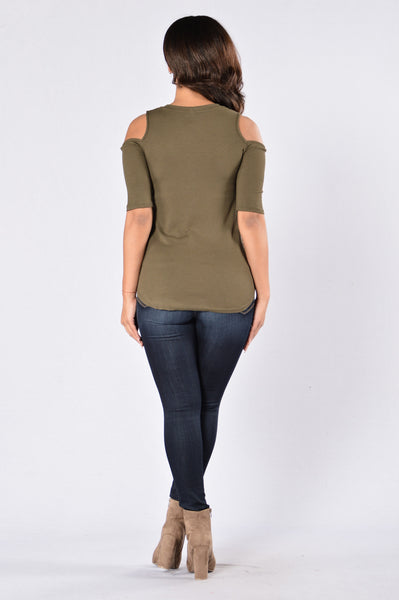 Stuck In A Landslide Top - Olive