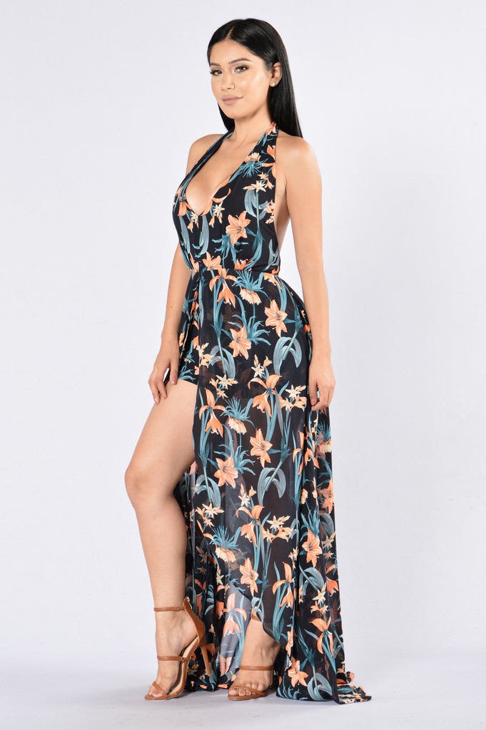 Looking For You Dress - Navy Multi
