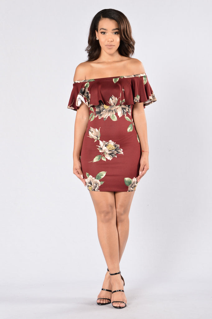Flower Shower Dress - Burgundy
