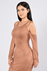 Giving the Bold Shoulder Dress - Brown