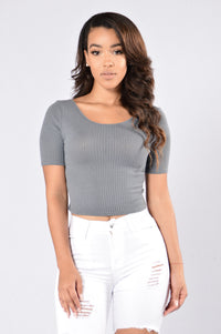 Time Travel Top - Charcoal