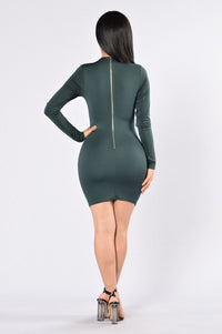 If You Wanna Be My Lover Dress - Hunter Green