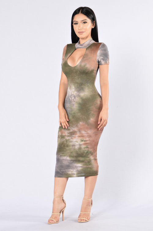 Dye Me Up Dress - Brown Multi