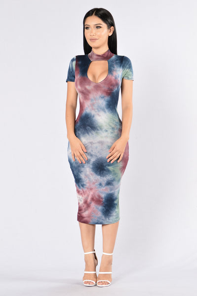 Dye Me Up Dress - Burgundy Multi