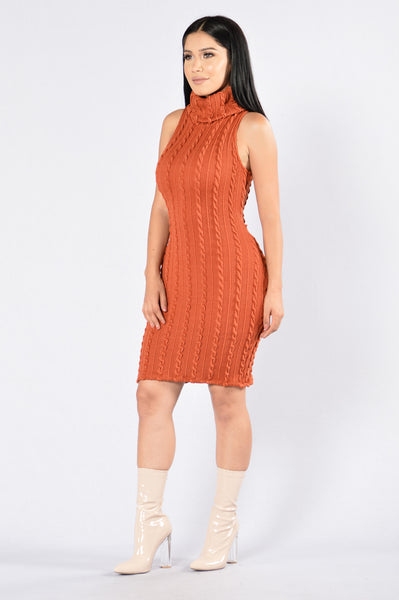Winter Walk Dress - Rust