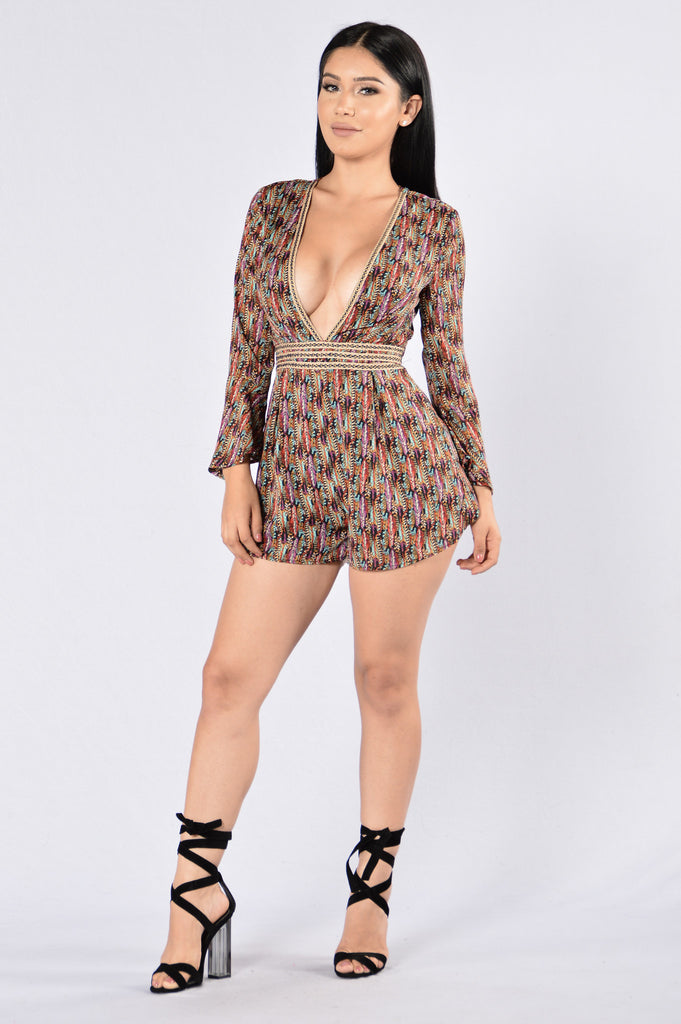 Footsteps Of A Stranger Romper - Plum