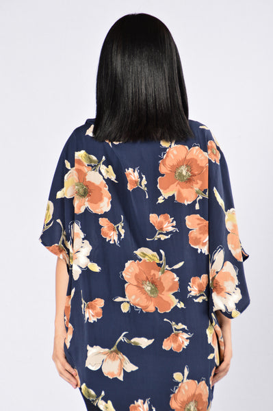 When The Sun Sets Kimono - Navy/Rust