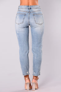 Attention Seeker High Waisted Distressed Jeans - Medium Blue