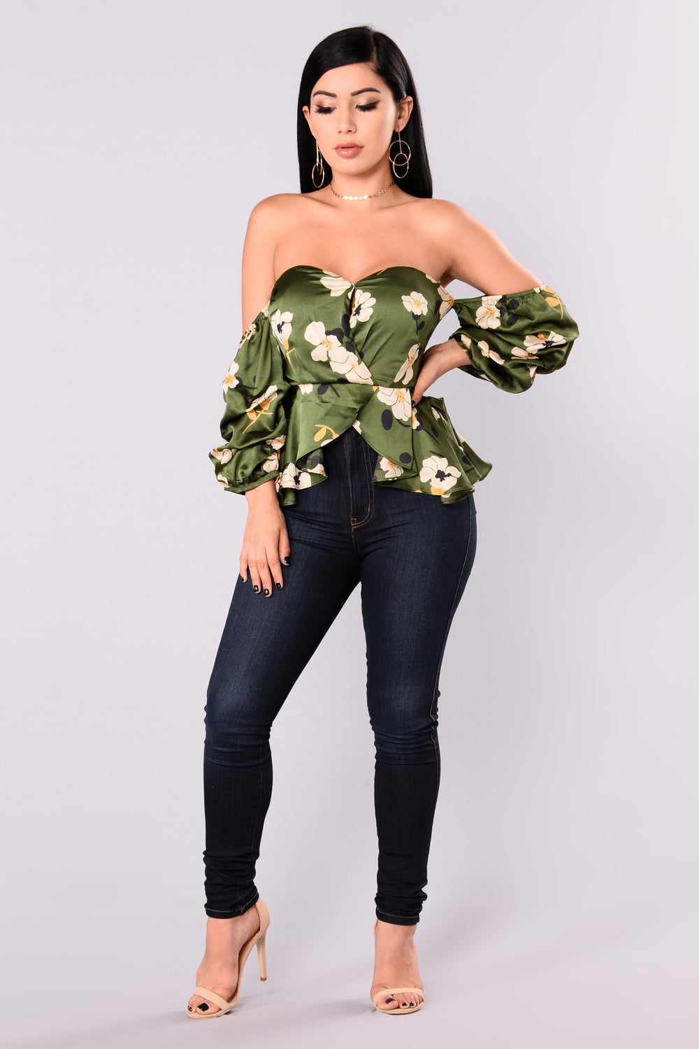 Honesty Puff Sleeve Top - Hunter Green