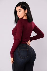Tied To You Lace Up Sweater - Burgundy