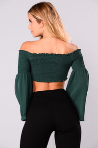 So Humble II Bell Sleeve Top - Hunter Green Angle 5