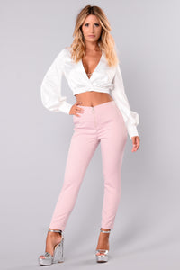Charlotte Front Pleat Pants - Blush