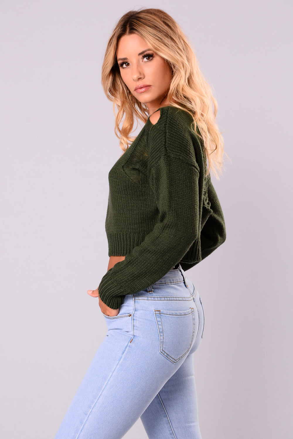 Leonora Cropped Sweater - Hunter