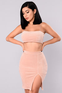 Confidently Lost Velour Set - Dusty Rose