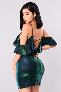 Vicky Metallic Dress - Teal