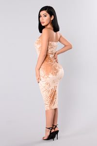 Maureen Velvet Dress - Gold