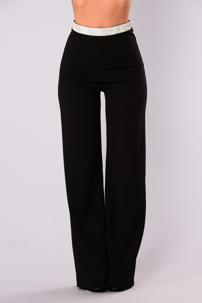 Roxy Rhinestone Pants - Black