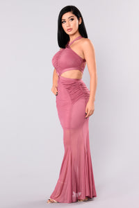 Cassia Mesh Dress - Marsala