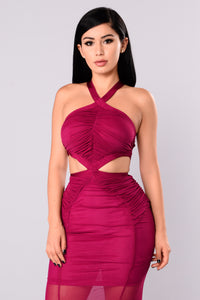 Cassia Mesh Dress - Wine