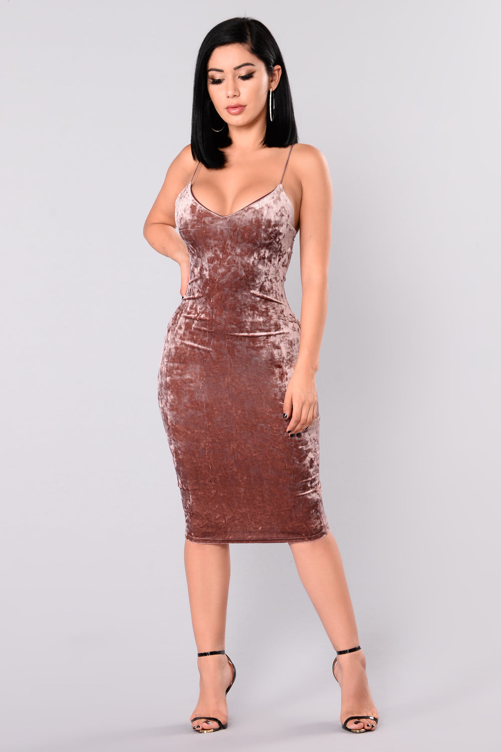 Denny Velvet Dress - Marsala
