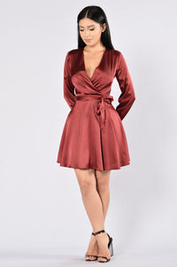 What I Like About You Dress - Burgundy