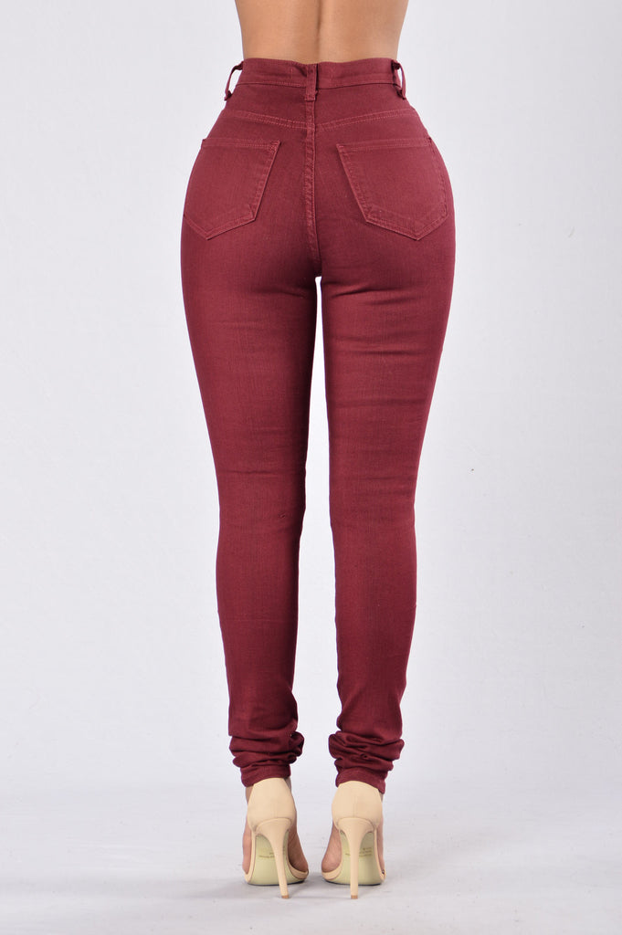 Roll Out Jeans - Burgundy