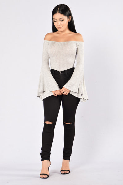 Just Go With It Bodysuit - Heather Grey