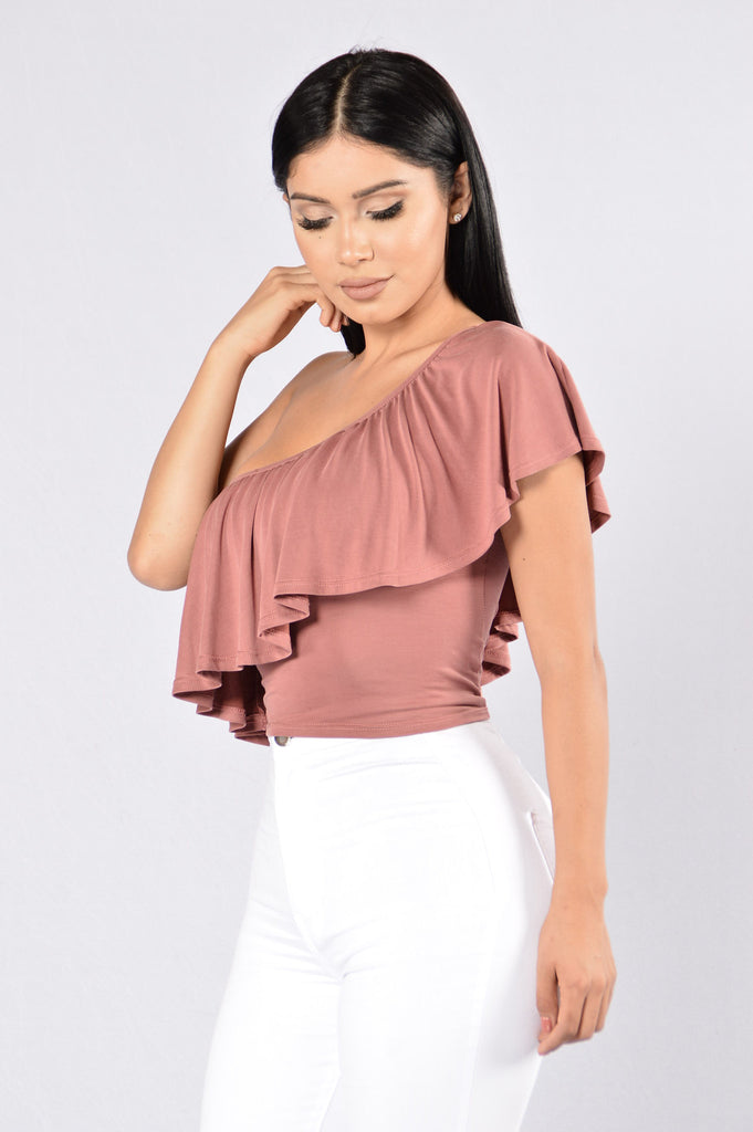 One Sided Story Top - Mauve