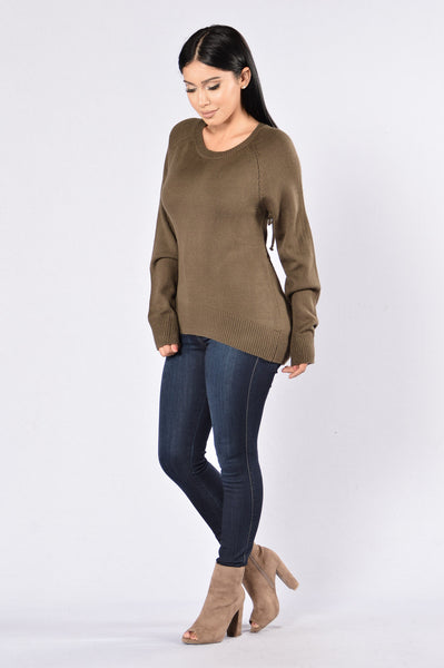 Break Hearts Not Necks Sweater - Olive