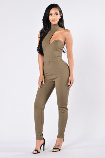 Not Worried Jumpsuit - Olive