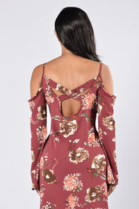 Enchanted Garden Dress - Burgundy