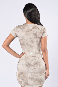Tied and True Dress - Dark Taupe Angle 3