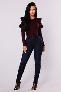 Lily Ruffle Cold Shoulder Sweater - Plum