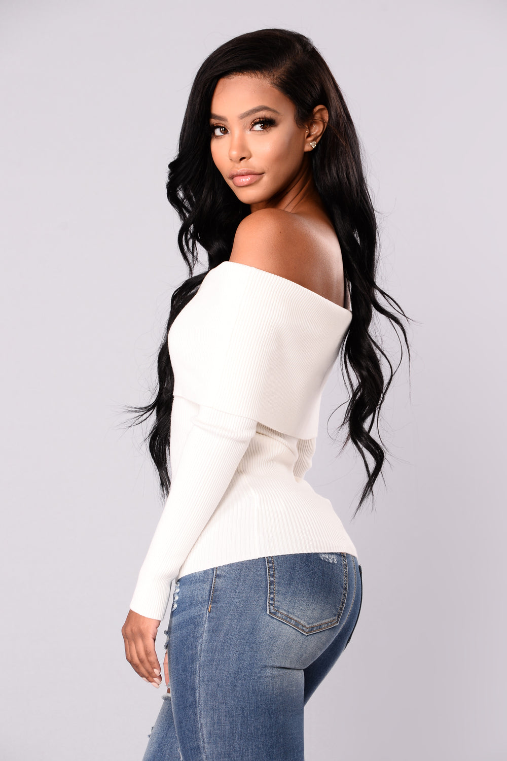 Dena Off Shoulder Sweater Top - White
